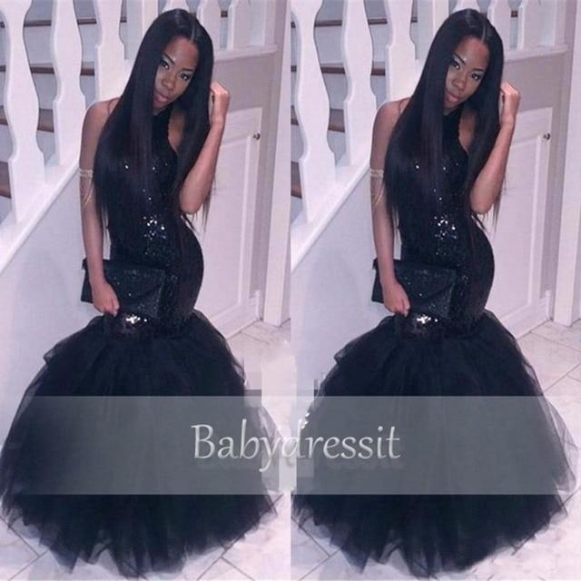 f24484329 Elegante Negro Africano Vestido de Fiesta Cabestro Sin Mangas Con  Lentejuelas Tul Palabra de Longitud Por Encargo de Largo Chica Negro Sirena  Vestidos ...