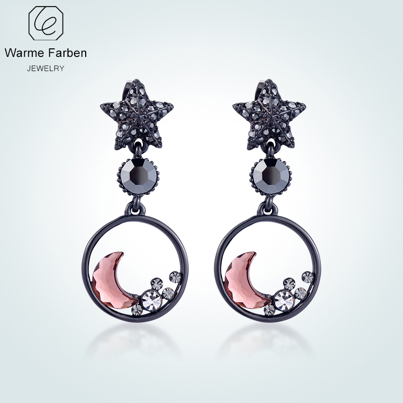 WARME FARBEN Earrings for Women Fashion 925 Sliver Jewelry Crystal From Swarovski Star Moon Drop Earrings Brincos for Girl moon angel drop earrings