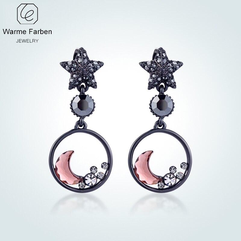 WARME FARBEN Ohrringe Für Frauen Mode 925 Splitter Schmuck Kristall Von  Swarovski Sterne Mond Ohrringe Brincos Für Mädchen