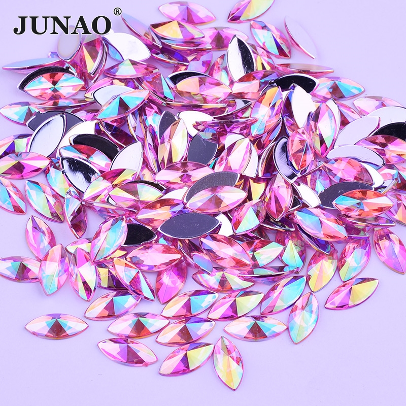 JUNAO 5*10mm Light Pink AB Crystals Flat Back Rhinestones Acrylic Gems Non Sewing Beads Glue On Crystal Horse Eye Strass Crafts