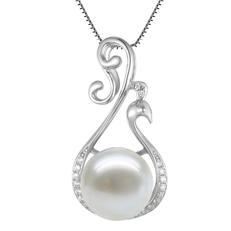 Natural Pearl Pendant Necklace In 925 Sterling Silver Top Fashion Birthstone Gift Elegant Phoenix Woman Jewelry shiying a02304 fashion elegant artificial pearl acrylic pendant necklace black white blue