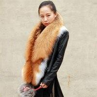 Lovingbeauty Silver Fox Fur Shawl Wrap Scarf Collar Green Fox Fur Collar Red Fox Fur Collar