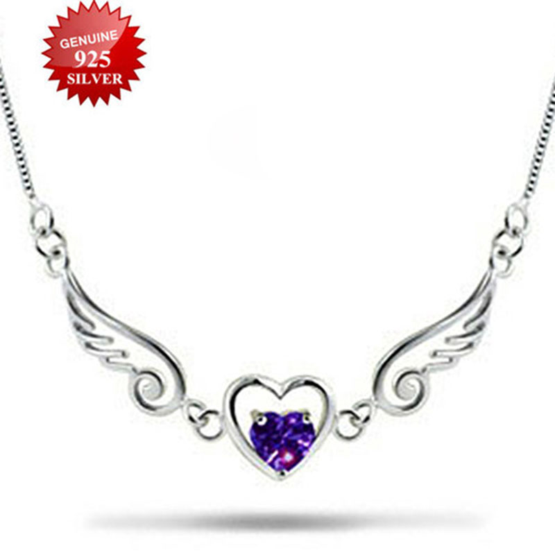 SOXY Women 100% Genuine 925 Sterling Silver Necklace Angel Love Of Wings Necklace Jewelery harajuku Necklace For Woman