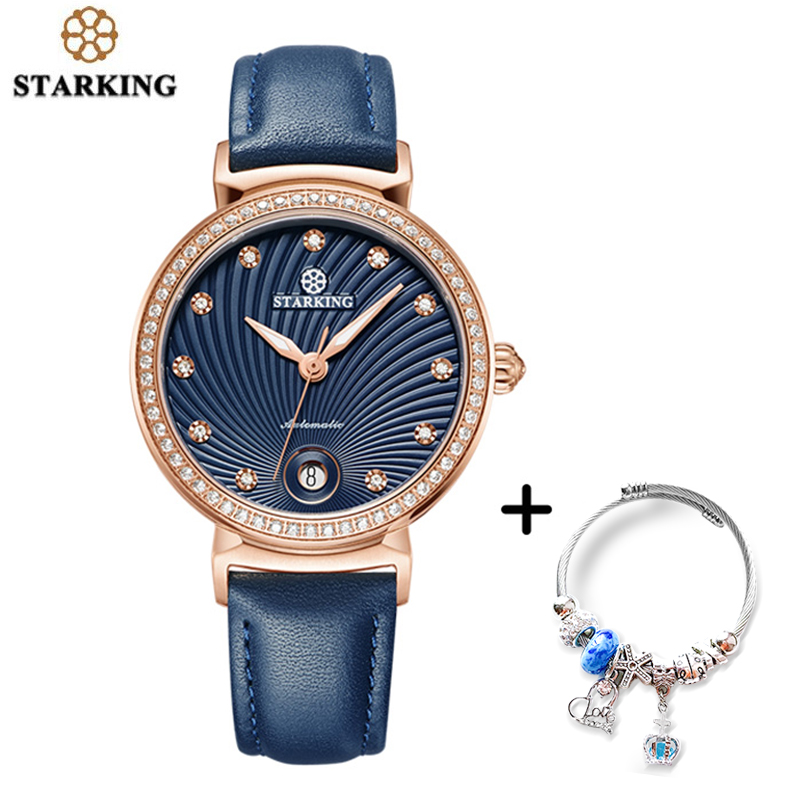 STARKING Women Watch Stainless Steel Band Gold Ladies Wristwatch Automatic Mechanical Self-wind Watch Bracelet SetSTARKING Women Watch Stainless Steel Band Gold Ladies Wristwatch Automatic Mechanical Self-wind Watch Bracelet Set
