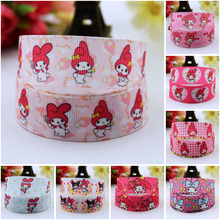 7/8'' (22mm) My Melody Cartoon Character printed Grosgrain Ribbon party decoration satin ribbons OEM 10 Yards 7 8 22mm owl cartoon character printed grosgrain ribbon party decoration satin ribbons oem 10 yards