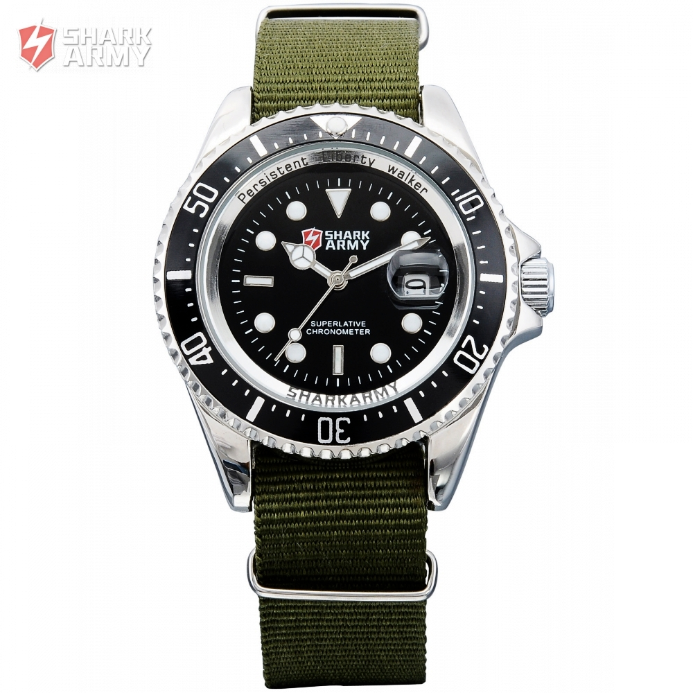 SHARK ARMY Brand Military Watches Men Date Quartz Stainless Steel Nylon Strap Clock Man Sports Watch Relogios Masculino /SAW014 skmei luxury brand military watch men quartz analog clock nylon strap clock man sports watches army relogios masculino