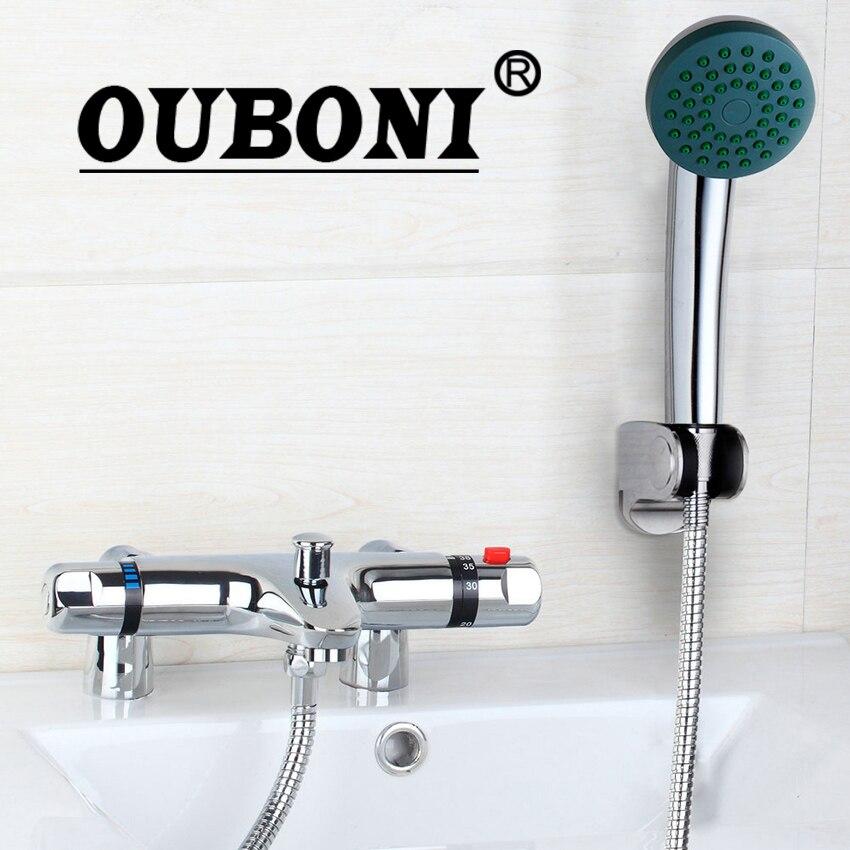 OUBONI Chrome Brass torneira da banheira Bathtub Sink New Wall Mounted Mixer Taps Basin Faucet Set Thermostatic Faucets