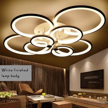 ホワイト & ブラック、完成したシャンデリア LED サークル現代の天井のシャンデリア照明リビングルームのためのアクリルランパラ Lustres デ手帖