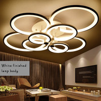White&Black Finished Chandeliers LED Circle Modern Ceiling Chandelier Lighting Lustres For Living Room Acrylic Lampara de techo