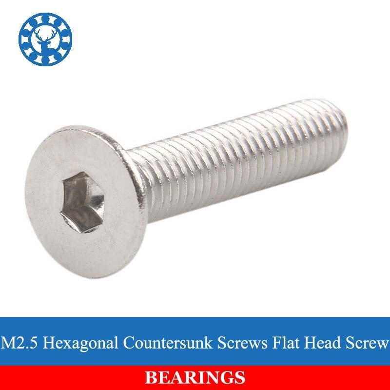 NEW 50Pcs DIN7991 GB70.3 ISO10642 JISB1194 M2.5 304 Stainless Steel Hexagonal Countersunk Screws Flat Head Screw fit 10642