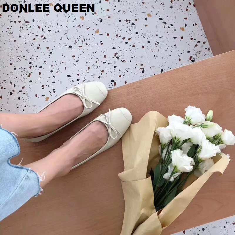 2019 Fashion Candy Color Flats Shoes Women Flat Ballerina Casual Slip On Soft Moccasin Round Toe Shallow Boat Shoe zapatos mujer in Women 39 s Flats from Shoes