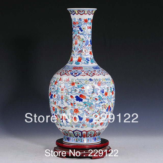 Cheap Antique China Ceramic Vase White And Blue Mixed Color Melon