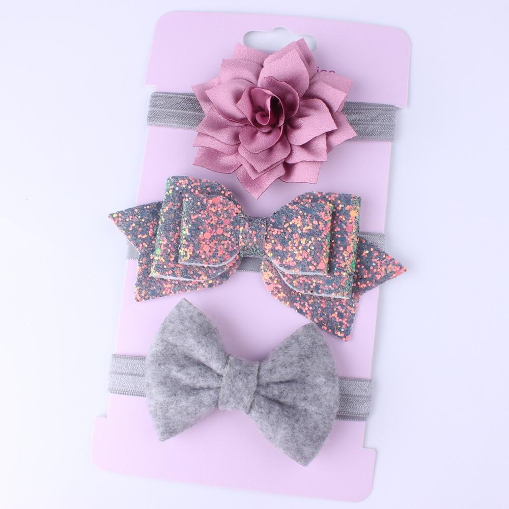 Новый комплект из 3 повязок на голову для маленьких девочек, повязка на голову с бантом, детские головные уборы для малышей, Цветочная повязк...