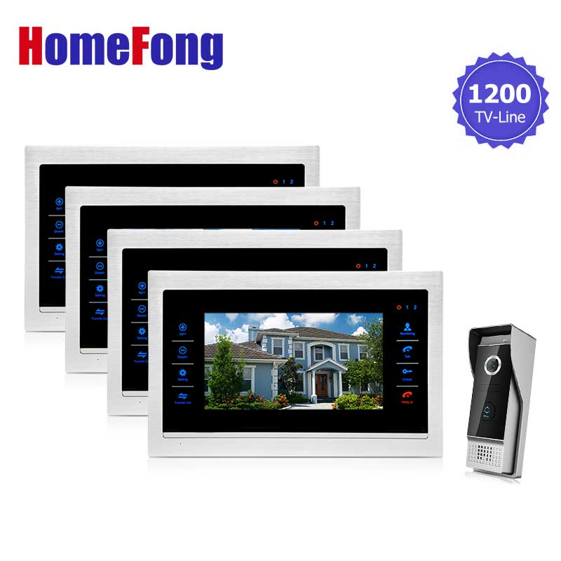 Homefong 7inch Video Door Phone Intercom Doorbell Home Security Entry Intercom 1 Camera 1200TVL 4 Door Monitor Access Kit homefong 4 inch monitor lcd color video record door phone doorbell intercom system night vision 1200tvl high resolution