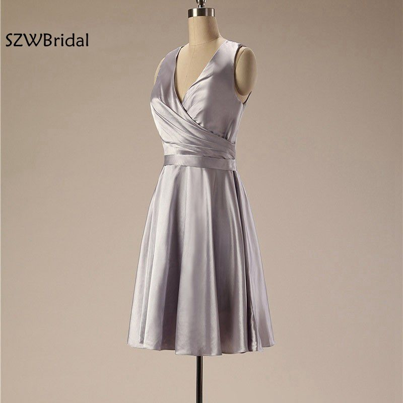 New Arrival V Neck Short   Cocktail     dresses   2019 Vestido de festa curto Plus size party   dress   Satin Cheap coctail   dress