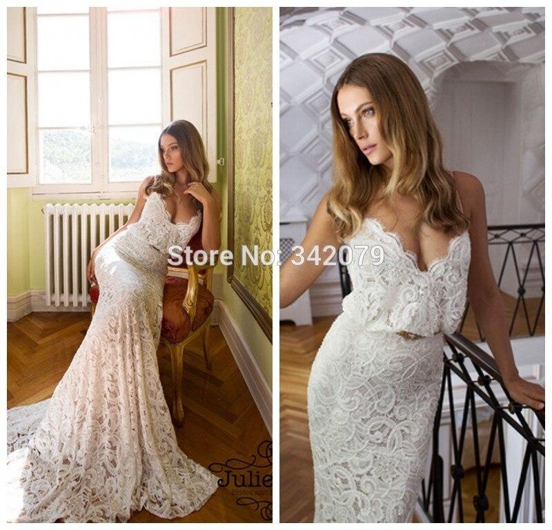 ph15017 spaghetti straps fully lace bride dresses Julie Vino Fall ...