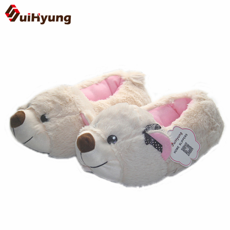 Suihyung Women Thermal Winter Indoor Cotton Shoes At Home Slippers Cute Puppy Plush Soft Floor Shoes Female Male Warm Slippers
