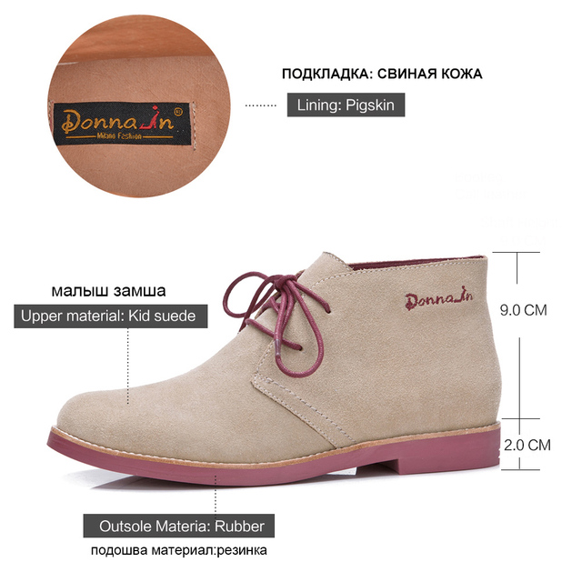 Donna in Ankle Boots for Women Martin Boots Genuine Leather Shoes Flat Casual Booties Woman
