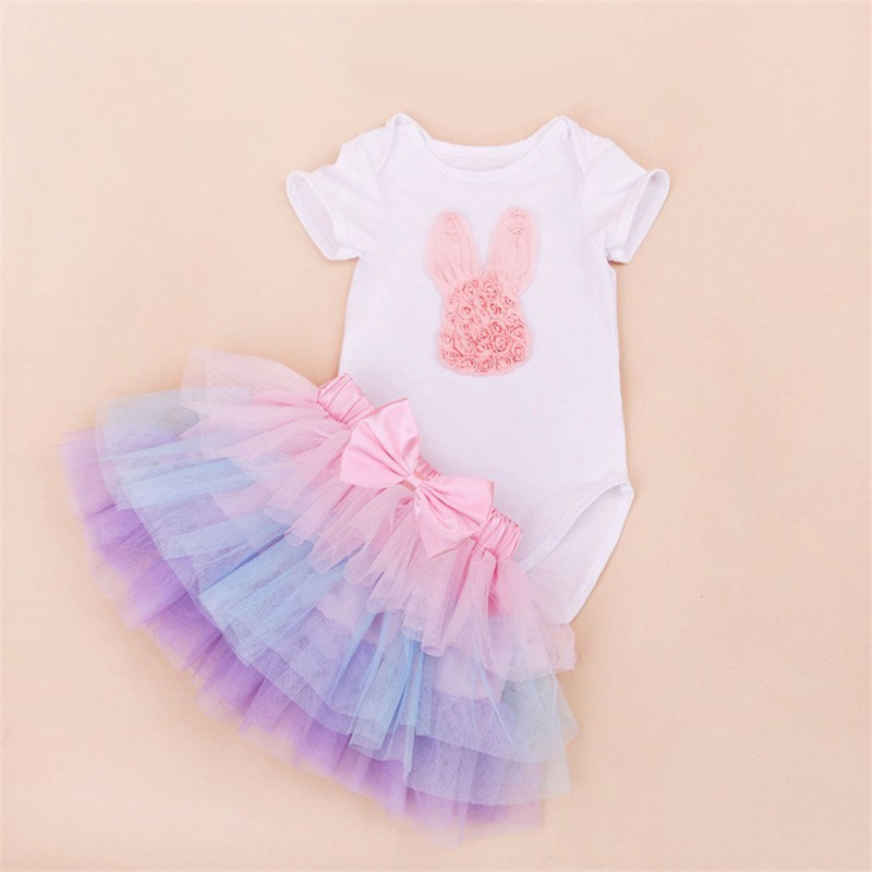 Tutu Baby Birthday Set Summer Short Sleeve Roupas Infantis Bebes 1st Birthday Outfit+Tutu Pettiskirt Dress Party Clothing Sets 9
