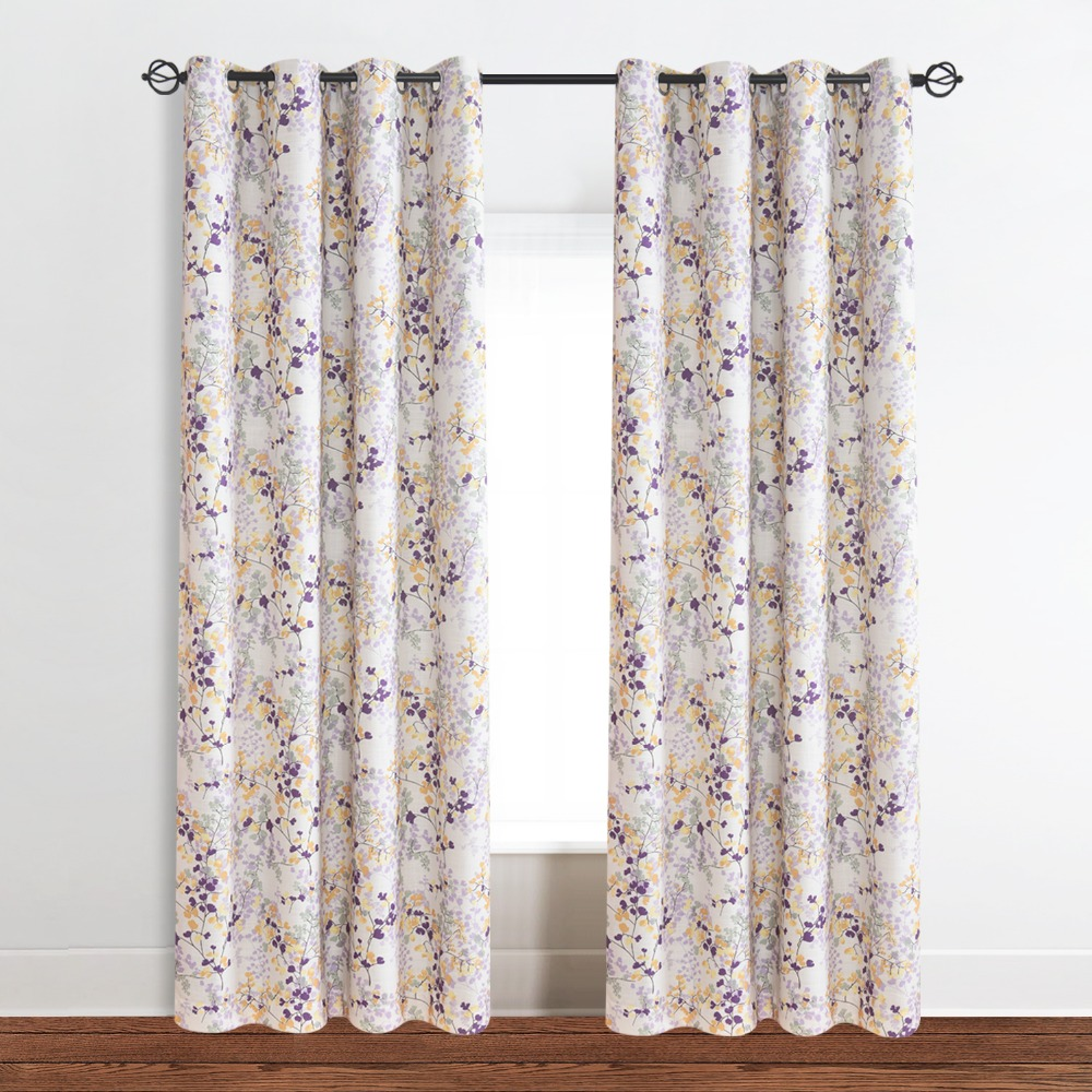 One curtain panel on window - Trees Blackout Window Curtains Panels Drapes Leaf Light Blocking Noise Reducing Privacy One Pair Yellow Green White