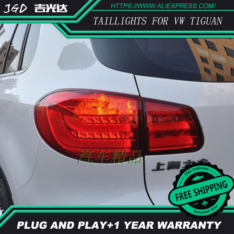 Car Styling tail lights for VW Tiguan 2009-2013 LED Tail Lamp rear trunk lamp cover drl+signal+brake+reverse car rear trunk security shield shade cargo cover for volkswagen vw new tiguan 2016 2017 2018 black beige