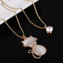 Summer New Fashion Jewelry Necklaces Opal Cat Shape Pendants Gold Chian Plated Rhinestone Necklaces For Women Gift  Jewelry
