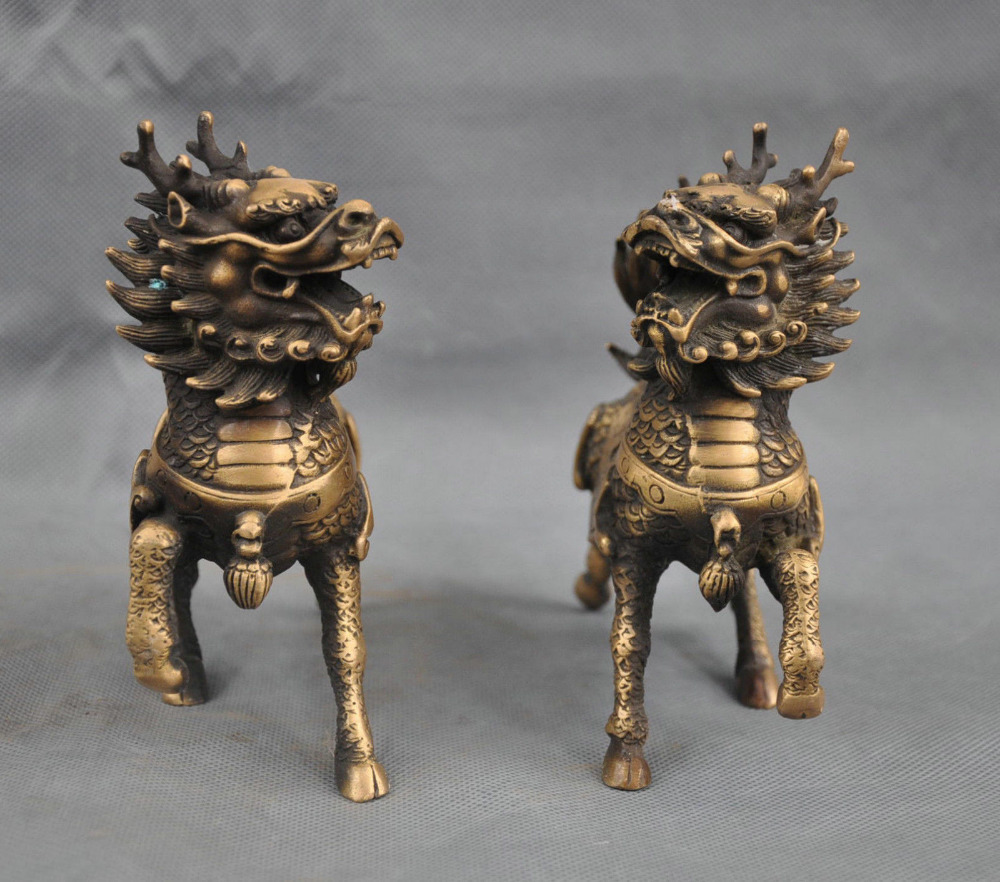 Chinese Bronze Animal Phylactery Beast Kylin Chi lin Unicorn Pair Statue