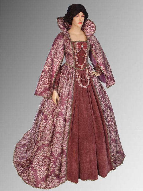 Noblewomans Renaissance Style Dress Handmade from Antique Velvet and Brocade Victorian Ball Gowns