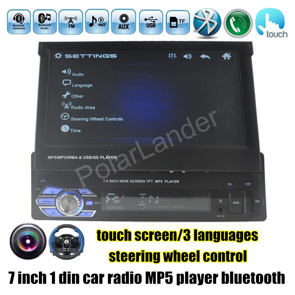 1 Din Car Stereo Radio MP5 MP4 Player 7 inch HD Touch Screen Bluetooth Support rear camera TF/FM/USB/AUX steering wheel control 2 din support rear camera car bluetooth gps 7 inch radio touch screen stereo mp4 mp5 player usb 8g map card selection