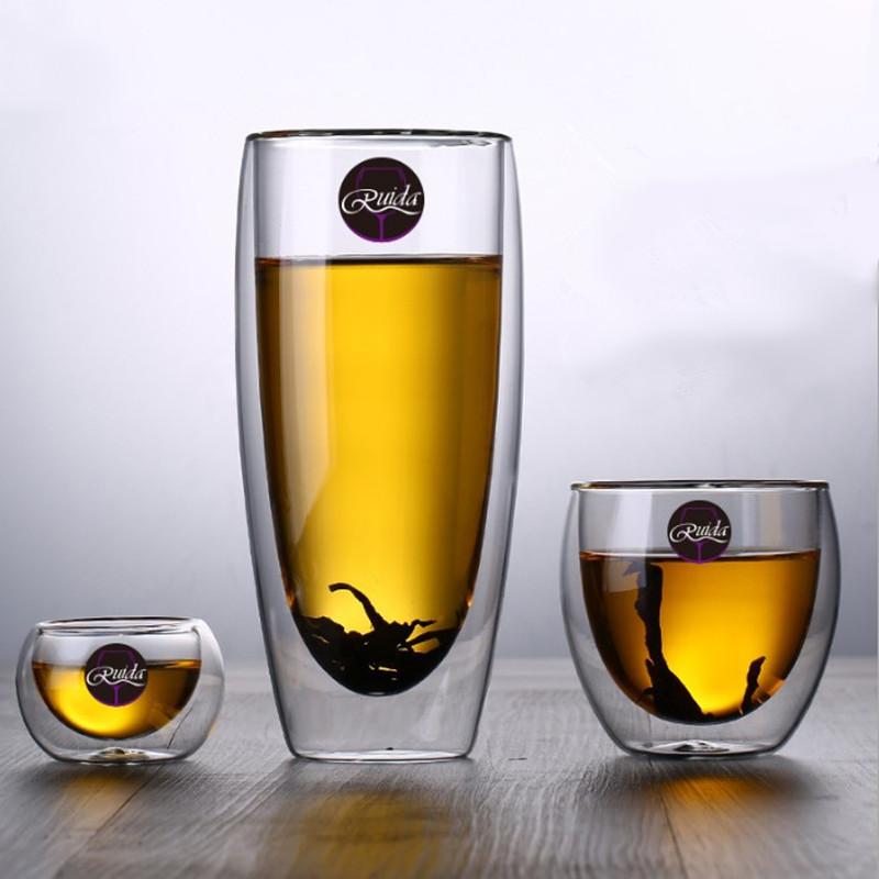 Brand 5 Size Lead-free Double Wall Handmade Glass Heat Resistant Tea Coffee Drink Cup Insulated Clear Glass Whiskey Drinkware