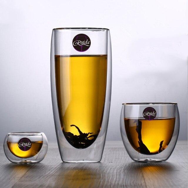 Marque 5 taille sans plomb Double paroi verre fait main résistant à la chaleur thé café boisson tasse isolé verre clair Drinkware