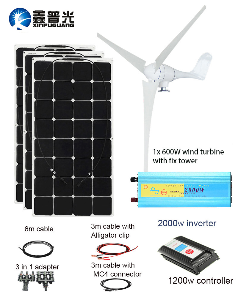 XINPUGUANG 600 w Éolienne 300 w panneau solaire hybride vent solaire système d'alimentation maison module mobile dc 12 v /24 v vent et solaire puissance