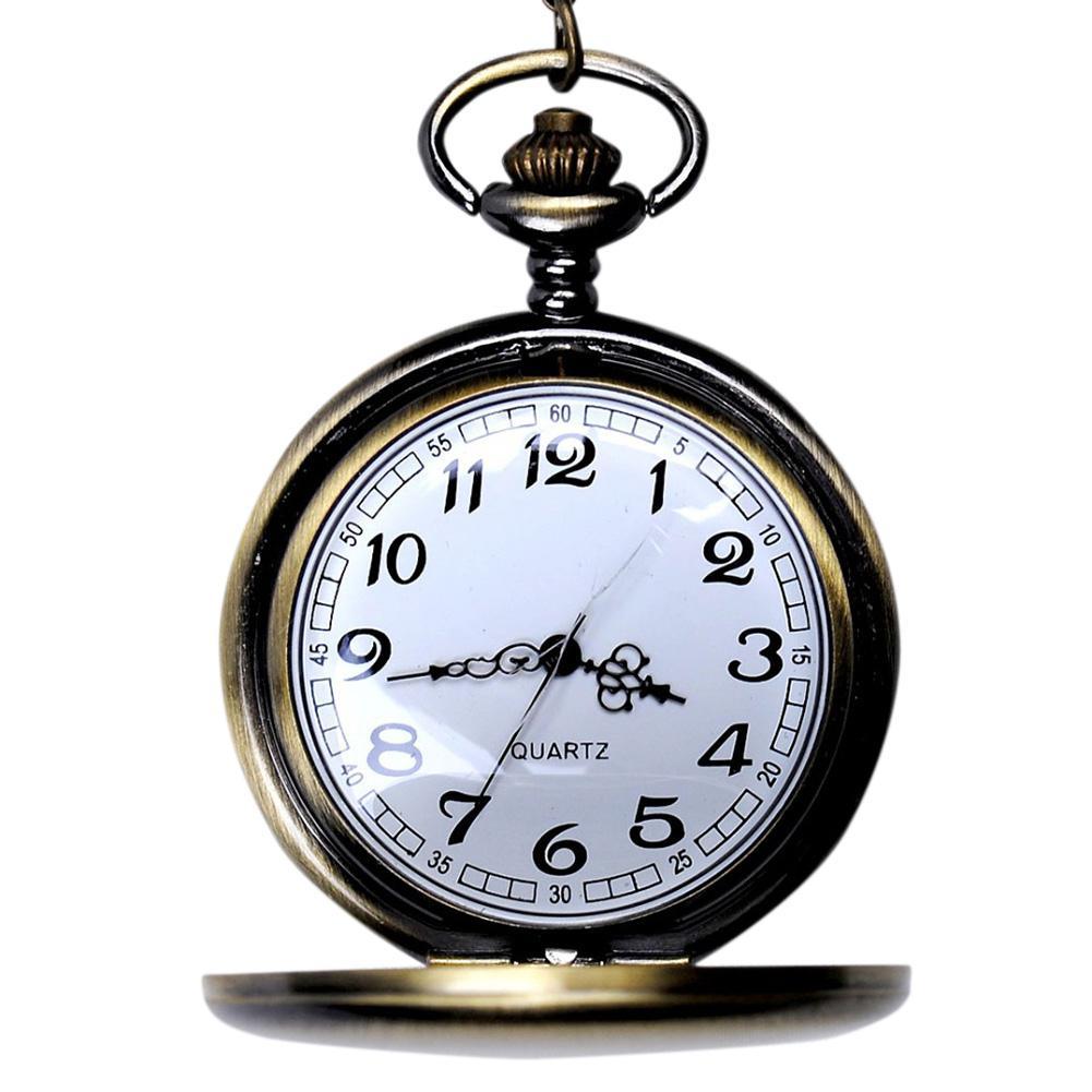 LinTimes Luxury Women Men Pocket Watch Vintage Bronze Chain Pendant Necklace Pocket Watch Quartz Fob Watch
