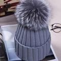 Норка мех лисы бейсболка англичане зимнюю шапку для женщин и девочек женский шерсть шляпа трикотажные хлопок шапочки шапка новый толстая женщина cap
