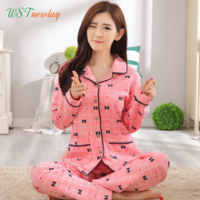100% Cotton Autumn Women's Pajamas Set Sleepwear Girls Suit 2 Piece Causal Pyjamas Thin Long Sleeved Lady Casual Home Clothing