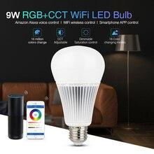 Miboxer YB1 2,4G 9W RGB+ CCT Wifi Светодиодная лампа 2,4G Беспроводная Светодиодная лампа 2700 K-6500 K с регулируемой яркостью 2 в 1 умный светодиодный светильник AC100-240V