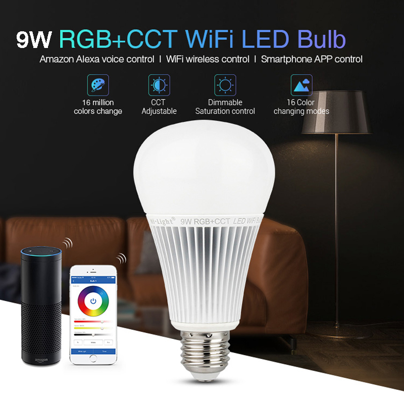 Milight 2.4G YB1 9W RGB+CCT Wifi Led Bulb Wireless Lamp 2700K-6500K Dimmable 2 in 1 Smart Light AC100-240V