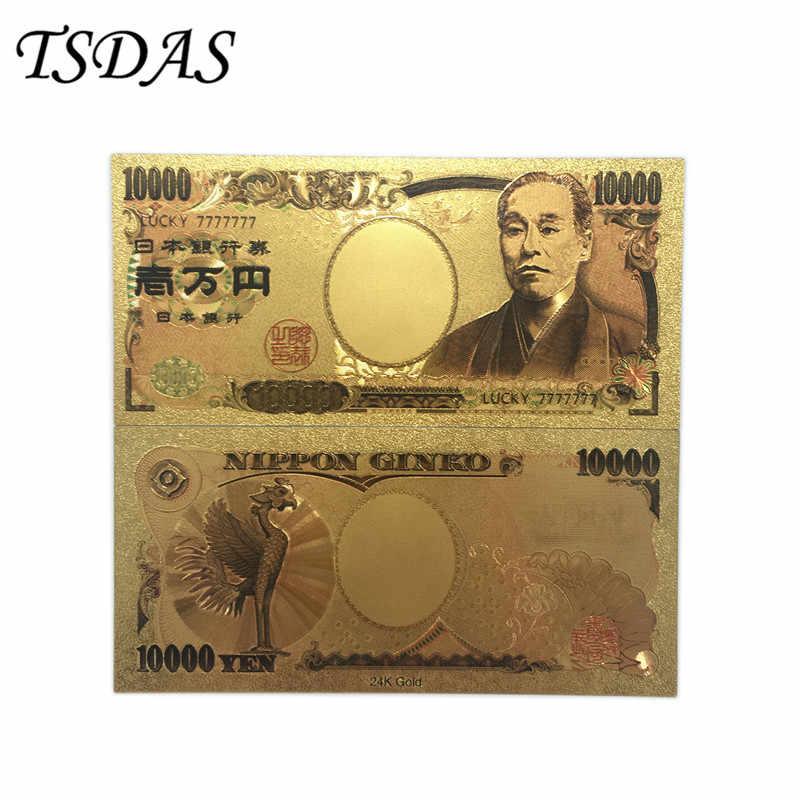 100/лот Япония 24 k золото банбанкноты из фольги 10000 иен счастливый 7777777 мир красочный сувенир банкноты