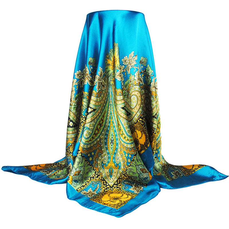 Big Size Silk Square Scarf New Fashion Printed Imitated Silk Satin Scarves Shawl Hijab For Women 90*90cm 2018 Luxury Brand Scarf