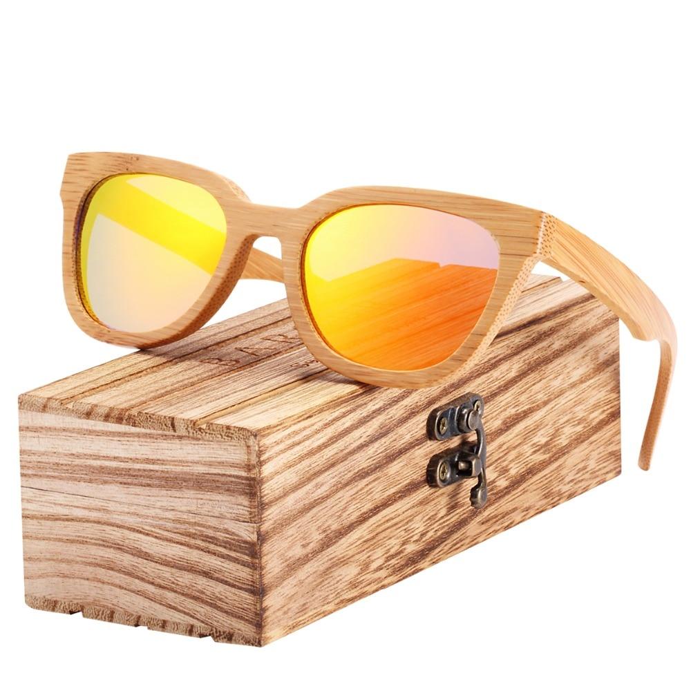 BARCUR Bamboo font b Sunglasses b font Wood ladies sun glasses oculos de sol with Wooden