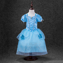 Girls New Cinderella Short Sleeved Dress Children Kids Party Wedding Special Occasion Clothing 4 Colour
