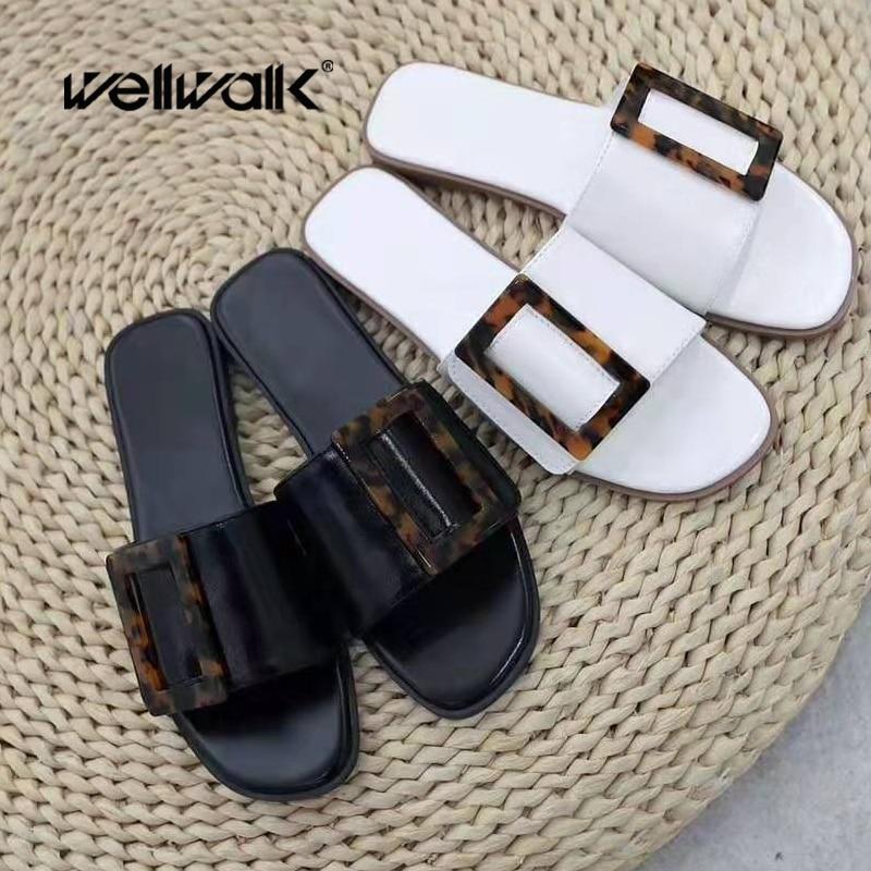 Summer Slippers Women Flat Sandals Fashion Buckle Ladies