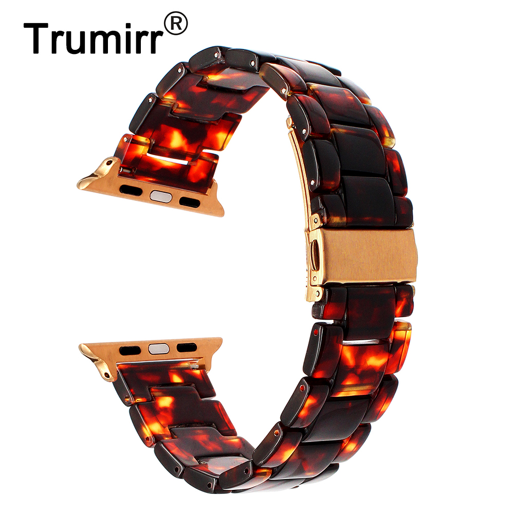 TRUMiRR 2018 Resin Watchband for iWatch Apple Watch 38mm 42mm Series 3 2 1 Wrist Band Stainless Steel Buckle Strap Link Bracelet eastar milanese loop stainless steel watchband for apple watch series 3 2 1 double buckle 42 mm 38 mm strap for iwatch band