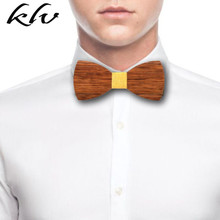 Men High Quality Wooden Bow Ties Classic Business Butterfly Solid Wood Tie