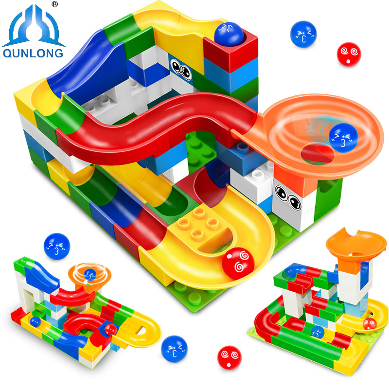 52pcs DIY Colorful Race Run Track Balls Rolling Track Building Blocks Toy For Children Christmas Gift Compatible legoe duplo Toy inflatable zorb ball race track pvc go kart racing track for sporting party