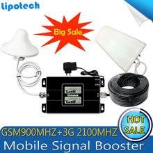 2017 Nowy typ! GSM 900/2100 mhz Bual zespół WCDMA 3G Telefon Komórkowy Smart Phone Signal Booster Repeater Sygnału Wzmacniacz Z LCD