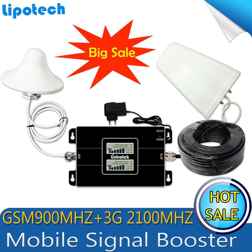 Lintratek Russie GSM 900/2100 mhz Celular Bual bande Smart Cell Phone Signal Booster WCDMA 3g GSM Signal répéteur 3g Amplificateur