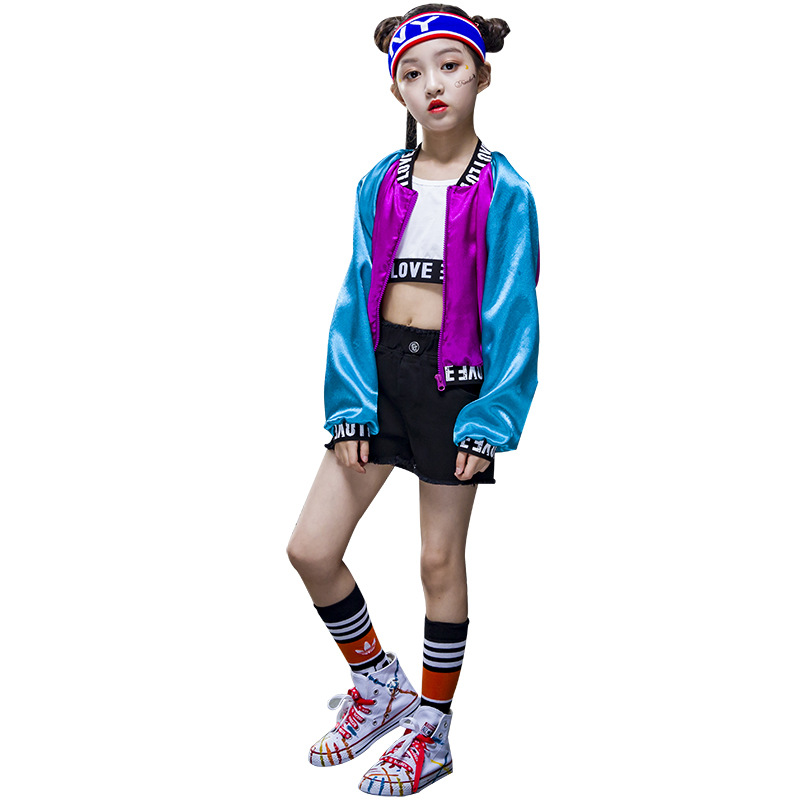 Enfants fille hip Hop Jazz Costume moderne salle de bal danse porter des vêtements enfants paillettes vêtements de sport pour les filles 3 pièces/ensemble