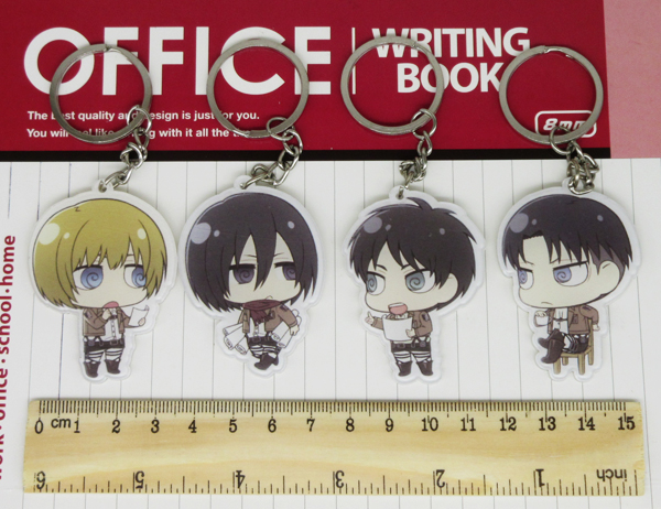 US $13 0 5% OFF|(12 pieces/lot) Attack on Titan Chibi Characters Key Ring  Pendants Eren Mikasa Armin Levi Collectible Toy Figure Cmoic con Gifts-in