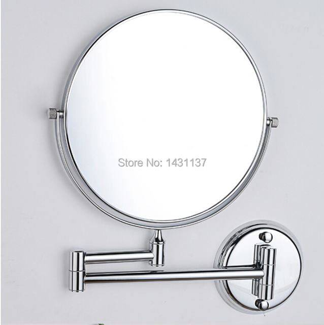 Fashion Chrome Magnifying Mirror Brass Material Folding Retractable Double Faced Bathroom Dressing